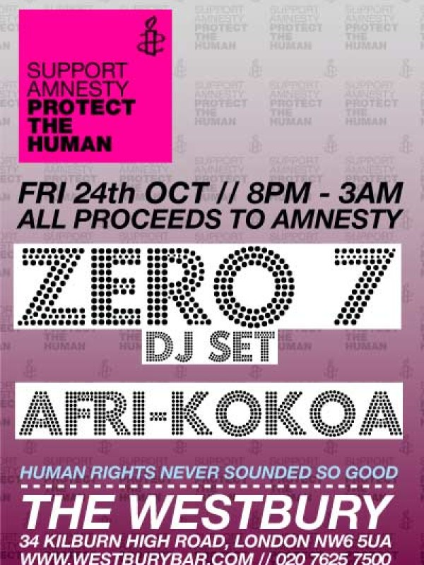 AFRI-KOKOA DJ set with Zero 7 DJs, Fri 24th October 2008