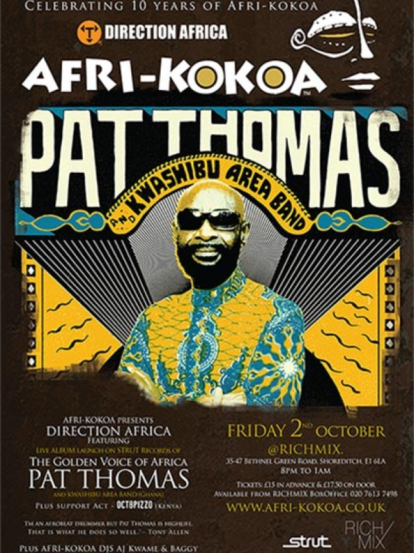 "AFRI-KOKOA ""Direction Africa"" presents Pat Thomas & Octopizzo – 2nd Oct 2015"